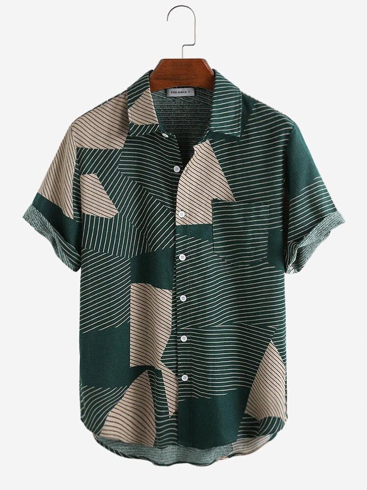 Мужские модные повседневные рубашки с короткими рукавами в полоску с цветными блоками