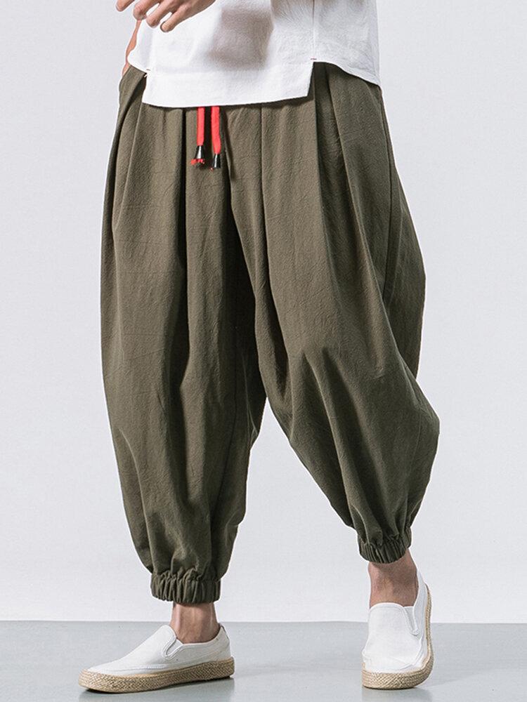 Мужские хлопковые свободные удобные мешковатые джоггеры с завязками Винтаж Повседневный гарем Брюки