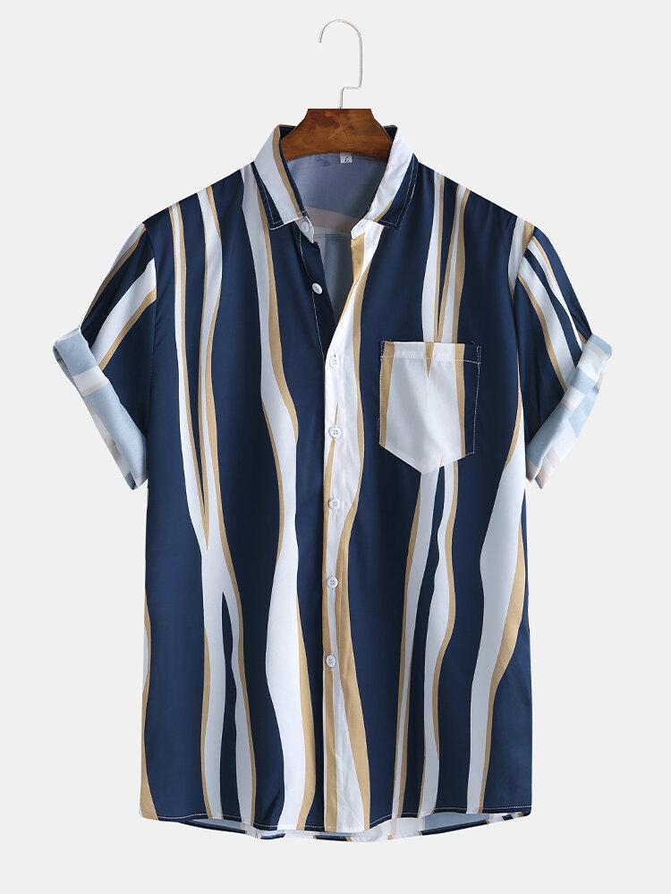 Мужская мода простой цвет Striola нагрудный карман с коротким рукавом повседневные рубашки