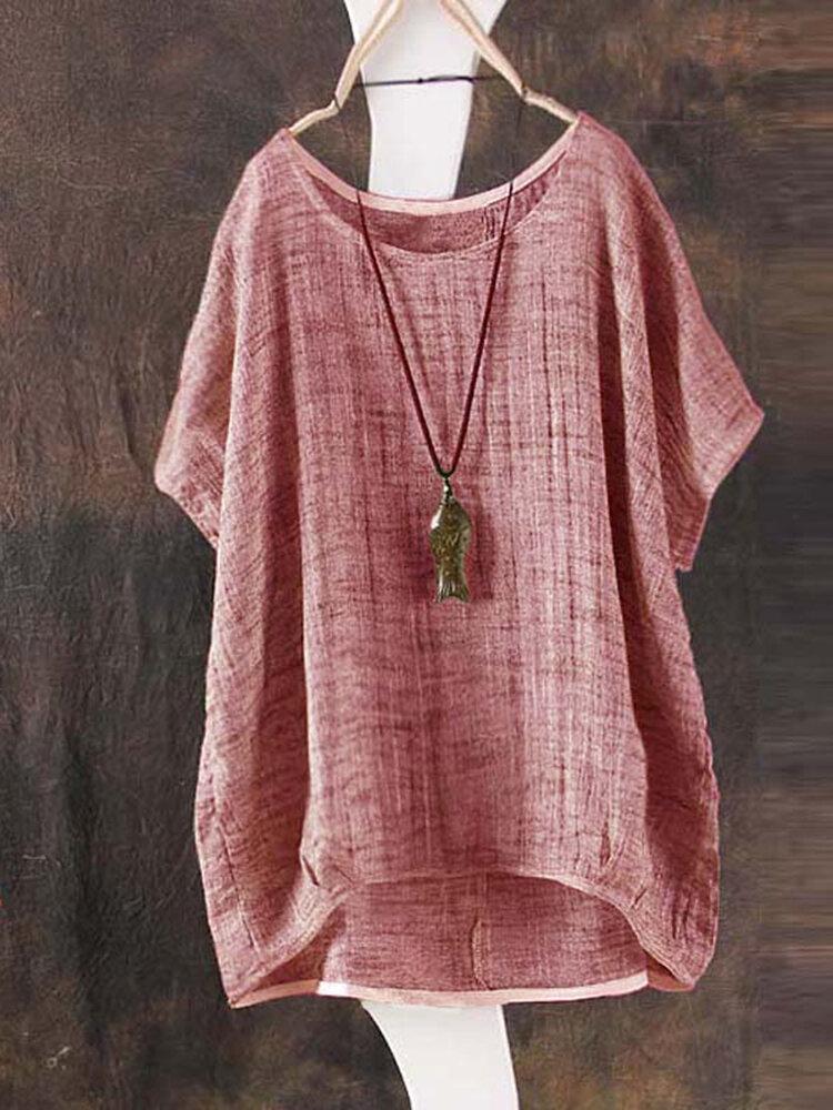Повседневная футболка Женское Pure Color с круглым вырезом и неправильным подолом