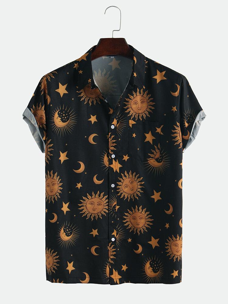 Мужские свободные рубашки с короткими рукавами и принтом солнца и луны