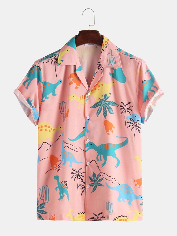 Повседневные рубашки с короткими рукавами и рисунками динозавров
