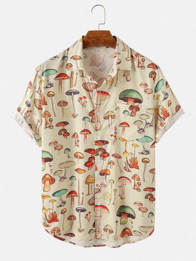Мужская футболка с принтом с отложным воротником и короткими рукавами