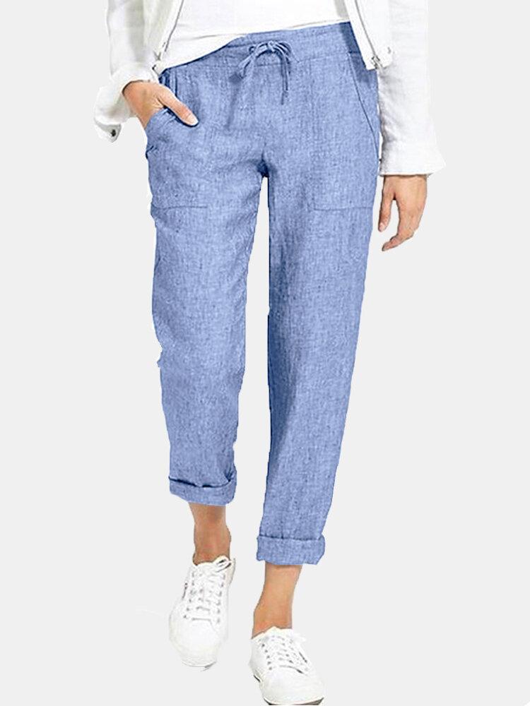 Женские повседневные однотонные брюки с эластичной талией и боковыми карманами